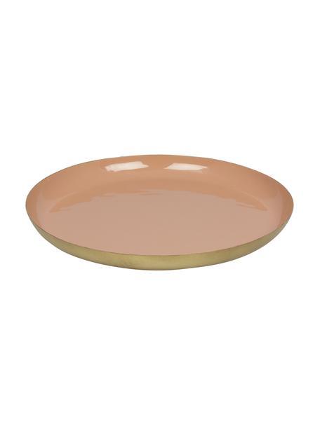 Decoratief dienblad Julienne, Gecoat metaal, Binnenzijde: roze. Buitenzijde: goudkleurig, Ø 29 x H 3 cm