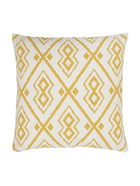Federa arredo boho color bianco crema/giallo Delilah, 100% cotone, Bianco, giallo, Larg. 45 x Lung. 45 cm