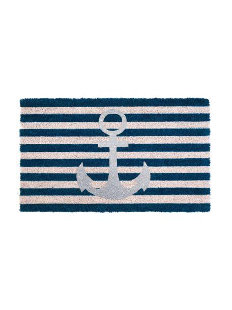 Deurmat Anker Stripes, Bovenzijde: kokosvezels, Onderzijde: vinyl, Donkerblauw, wit, zilverkleurig, 45 x 75 cm