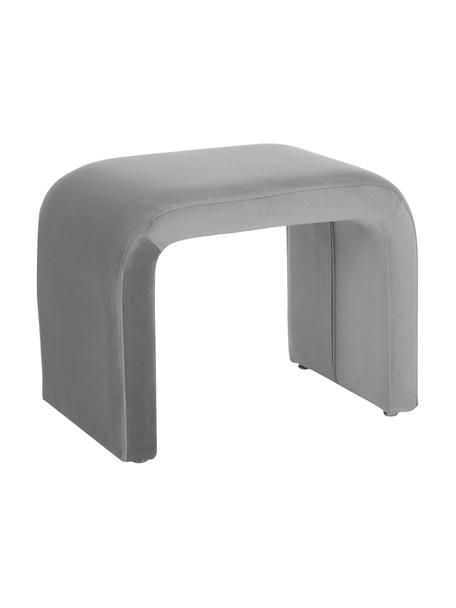 Taburete de terciopelo Penelope, Tapizado: terciopelo (poliéster) 25, Estructura: metal aglomerado, Gris, An 60 x Al 45 cm