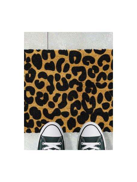 Felpudo Leopard, Parte superior: fibras de coco, Parte trasera: PVC, Beige, negro, An 40 x L 60 cm