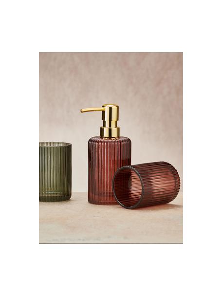 Zeepdispenser Antoinette van glas, Pompje: metaal, Mahonierood, Ø 8 x H 17 cm