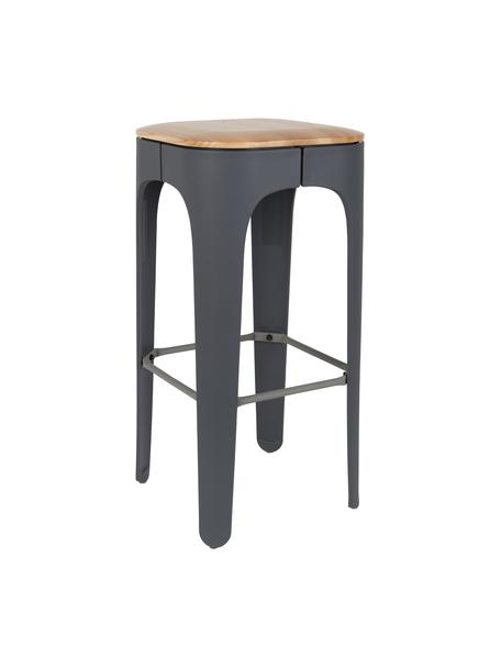 Barhocker Up-High aus Holz und Metall, Beine: Polypropylen, matt lackie, Sitz: Eschenholz Beine: Dunkelgrau Fussstütze: Dunkelgrau, 35 x 73 cm