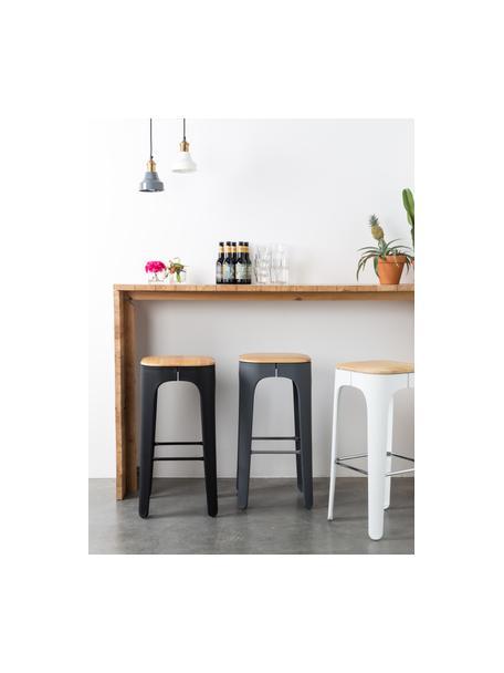 Barhocker Up-High aus Holz und Metall, Beine: Polypropylen, matt lackie, Sitz: Eschenholz Beine: Dunkelgrau Fußstütze: Dunkelgrau, 35 x 73 cm