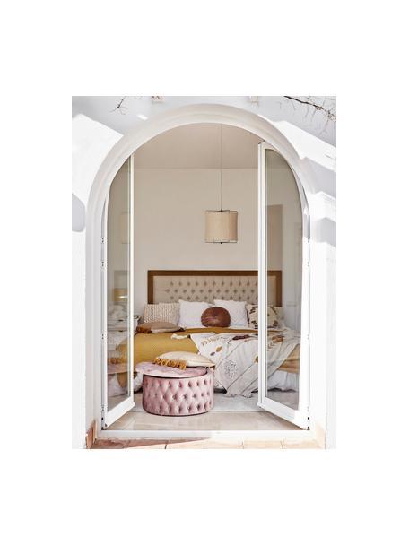Puf XL z aksamitu z miejscem do przechowywania Chiara, Tapicerka: aksamit (poliester) Dzięk, Korpus: drewno eukaliptusowe, Blady różowy, ∅ 70 x W 42 cm