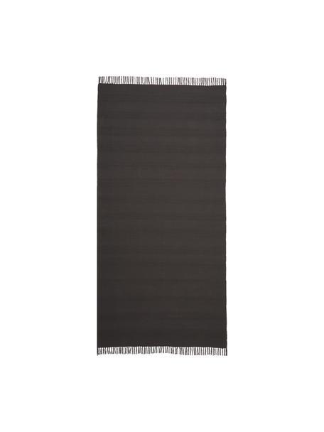 Katoenen vloerkleed Tanya met ton-sur-ton weefpatroon en franjes, 100% katoen, Donkergrijs, B 70 x L 150 cm (maat XS)