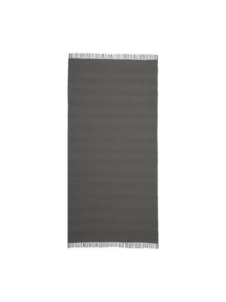 Tappeto in cotone con struttura a righe intrecciate tono su tono e frange Tanya, 100% cotone, Grigio scuro, Larg. 70 x Lung. 150 cm (taglia XS)