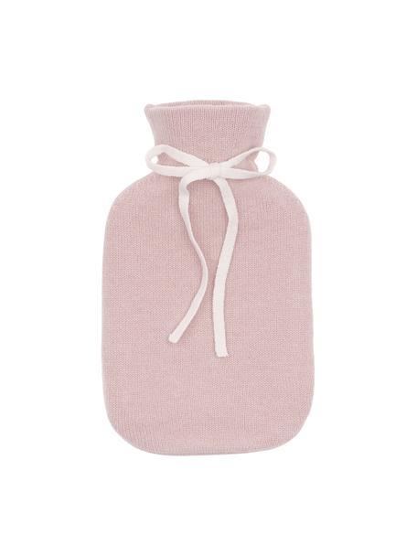 Kasjmieren warmwaterkruik Florentina, Hoes: roze. Sierstrik: crèmewit. Kruik: crèmewit, 19 x 30 cm