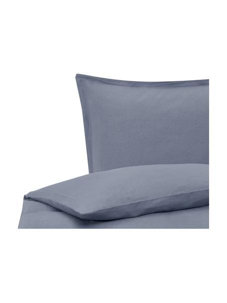 Gewaschene Leinen-Bettwäsche Nature in Blau, Halbleinen (52% Leinen, 48% Baumwolle)  Fadendichte 108 TC, Standard Qualität  Halbleinen hat von Natur aus einen kernigen Griff und einen natürlichen Knitterlook, der durch den Stonewash-Effekt verstärkt wird. Es absorbiert bis zu 35% Luftfeuchtigkeit, trocknet sehr schnell und wirkt in Sommernächten angenehm kühlend. Die hohe Reißfestigkeit macht Halbleinen scheuerfest und strapazierfähig., Blau, 155 x 220 cm + 1 Kissen 80 x 80 cm