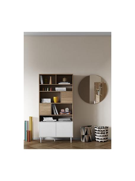 Wandrek Horizon in wit met eikenhout optiek, Poten: beukenhout massief, gelak, Eikenhout, wit, 90 x 180 cm