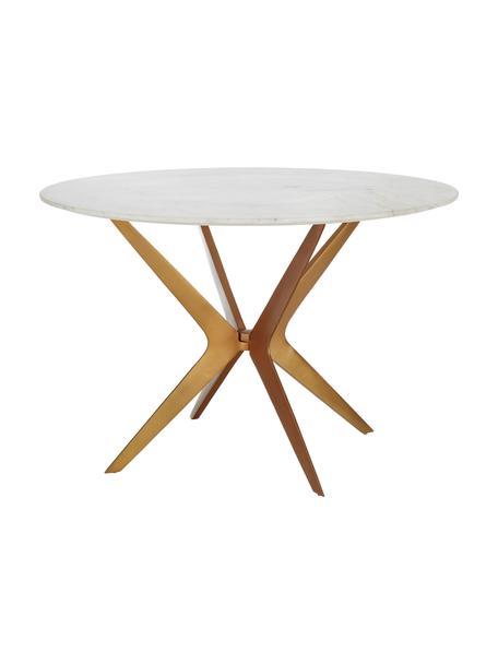 Mesa de comedor redonda de mármol Safia, Tablero: mármol, Patas: metal con pintura en polv, Mármol blanco grisaceo, dorado mate, Ø 120 x Al 76 cm
