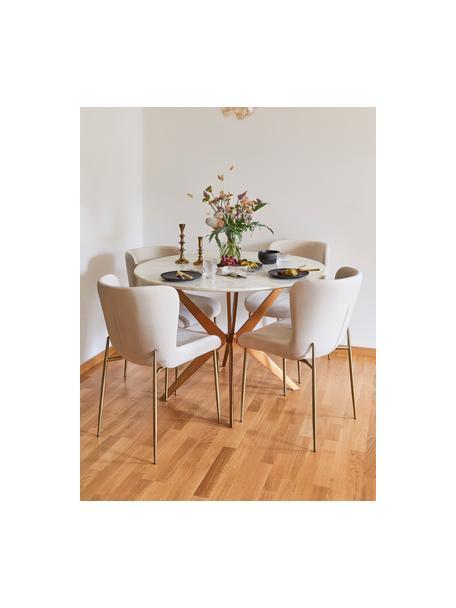 Mesa de comedor redonda Safia, tablero en aspecto mármol, Tablero: mármol, Patas: metal con pintura en polv, Mármol blanco grisaceo, dorado mate, Ø 120 x Al 76 cm