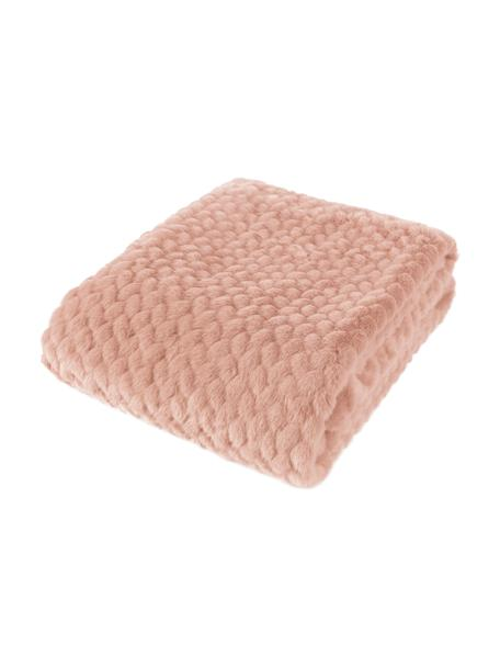 Knuffeldeken Mink van geweven bont in roze, Bovenzijde: 60% polyacryl, 40% polyes, Onderzijde: 100% polyester, Roze, 150 x 200 cm