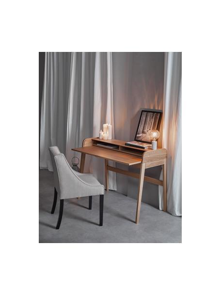 Gestoffeerde stoel Savannah, Bekleding: polyester, Poten: gelakt massief beukenhout, Bekleding: beige. Poten: zwart, B 55 x D 55 cm