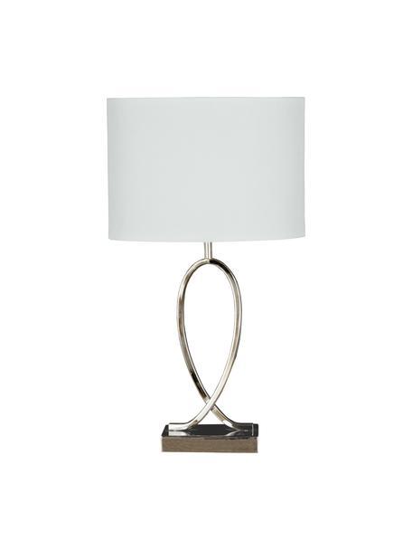 Tafellamp Posh met ovalem lampenkap, Lampenkap: 40% acryl, 60% polyester, Lampvoet: verchroomd metaal, Chroomkleurig, wit, 30 x 54 cm
