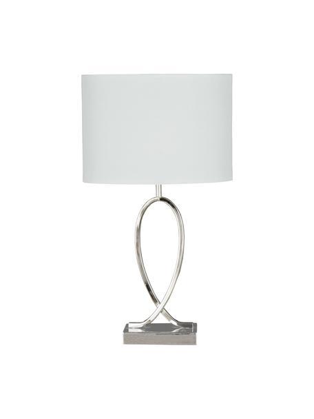 Lampada da tavolo con paralume ovale Posh, Paralume: 40% acrilico, 60% poliest, Base della lampada: metallo cromato, Cromo, bianco, Larg. 30 x Alt. 54 cm