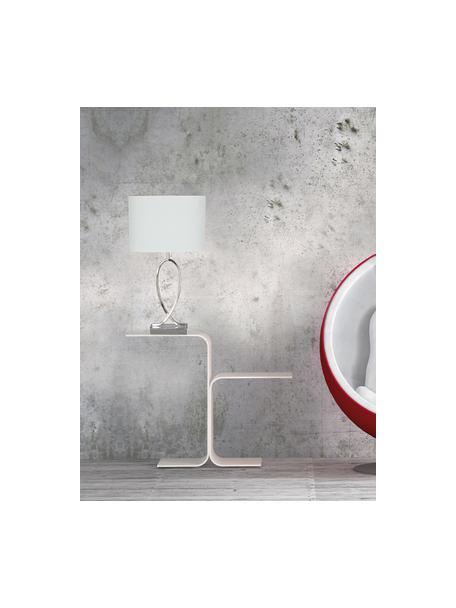 Grote tafellamp Posh met ovale lampenkap, Lampenkap: 40% acryl, 60% polyester, Lampvoet: verchroomd metaal, Chroomkleurig, wit, 30 x 54 cm