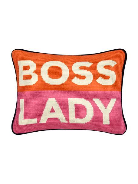 Kleines handbesticktes Designer Kissen Boss Lady, mit Inlett, Vorderseite: 100% Wolle, Rückseite: Baumwollsamt, Orange, Weiss, Pink, Marineblau, 23 x 30 cm