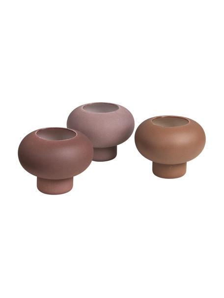 Komplet świeczników na podgrzewacze Agate, 3 elem., Porcelana, Brudny różowy, lila, brązowy, Ø 9 x W 7 cm