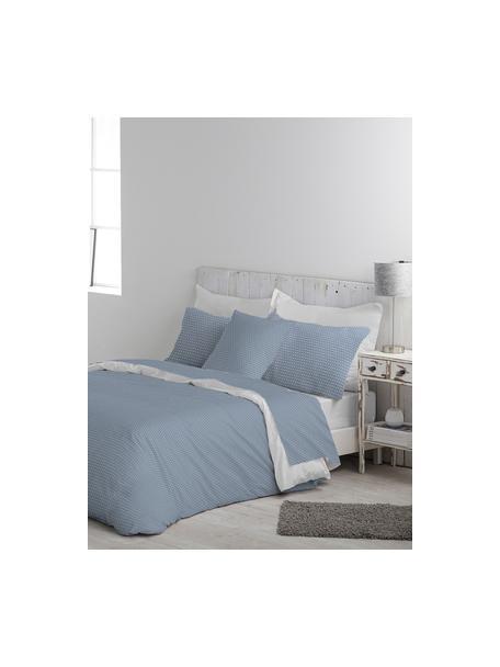 Set lenzuola in cotone Perun, Cotone La parure copripiumino in cotone è piacevolmente morbida sulla pelle, assorbe bene l'umidità ed è adatta per chi soffre di allergie., Blu, bianco, 160 x 270 cm + 1 federa 50 x 80 cm