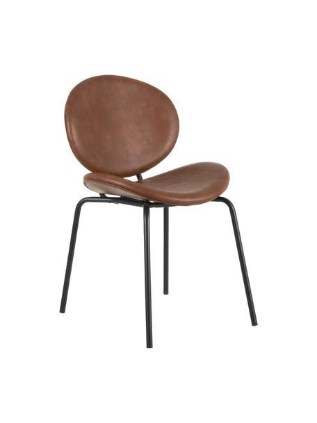 Krzesło tapicerowane ze sztucznej skóry Frankie, Tapicerka: sztuczna skóra (poliureta, Stelaż: polipropylen, Nogi: metal, Karmelowy brązowy, czarny, S 53 x G 50 cm