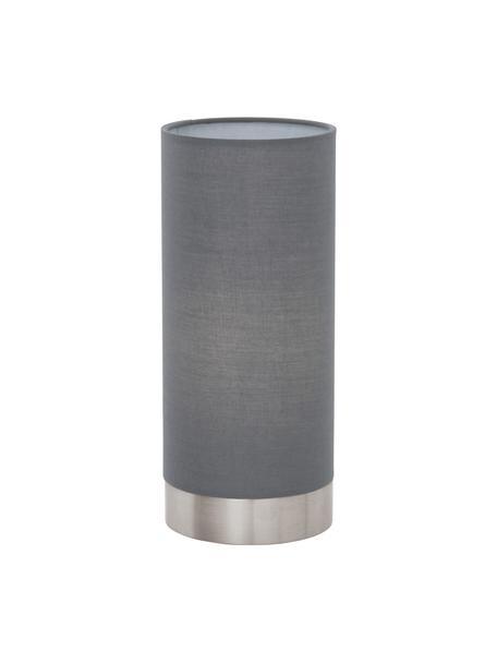 Kleine Dimmbare Nachttischlampe Pasteri, Lampenschirm: Polyester, Lampenfuß: Stahl, vernickelt, Grau, Weiß, Ø 12 x H 26 cm