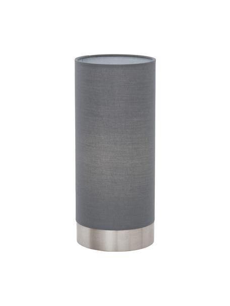 Kleine dimbare nachtlampje Pasteri, Lampenkap: polyester, Lampvoet: vernikkeld staal, Grijs, wit, Ø 12 x H 26 cm