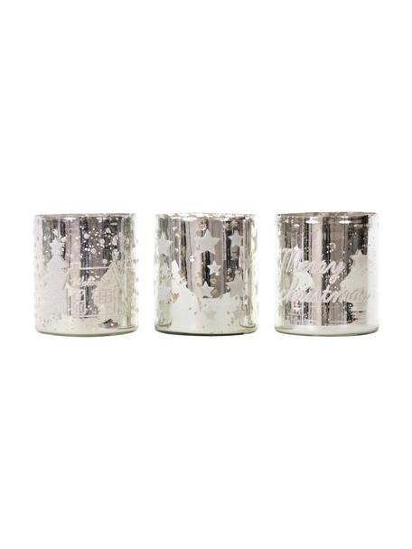 Teelichthalter-Set Merry Christmas, 3-tlg., Glas, Silberfarben, Ø 9 x H 10 cm