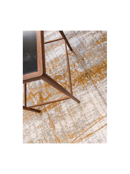 Design Teppich Griff im Vintage Style, Flor: 85%Baumwolle, 15%hochgl, Webart: Jacquard, Grau, Goldfarben, Weiß, B 140 x L 200 cm (Größe S)
