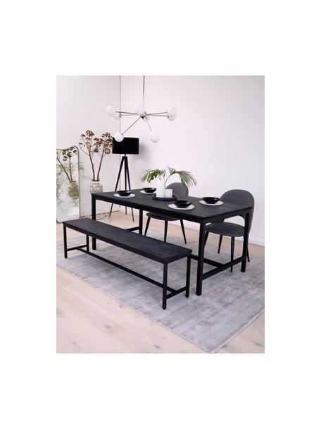 Tavolo con piano in legno massiccio nero Raw, Struttura: metallo verniciato a polv, Legno di mango nero verniciato, Larg. 180 x Prof. 90 cm