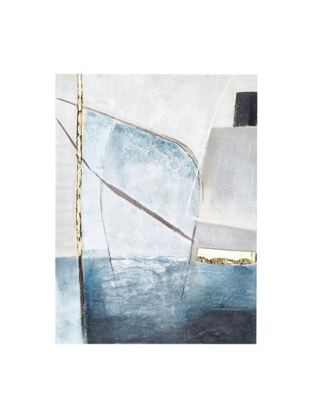Ręcznie malowany obraz na płótnie Golden Blue II, Wielobarwny, S 90 x W 120 cm