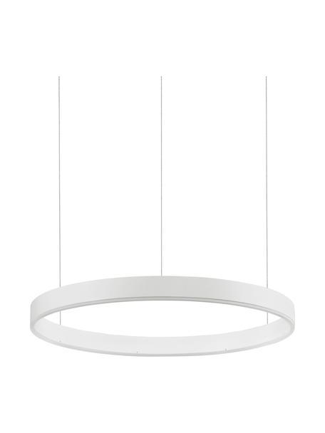 Grote LED hanglamp Motif in wit, Lampenkap: gecoat aluminium, Diffuser: acryl, Baldakijn: gecoat aluminium, Wit, Ø 60 x H 190 cm