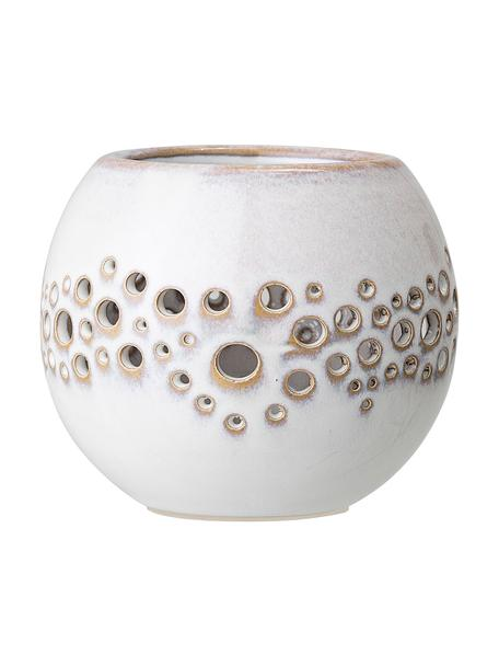 Ręcznie wykonany świecznik na podgrzewacze Toto, Kamionka, Biały, beżowy, Ø 10 x W 9 cm