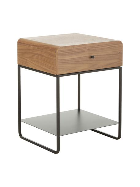 Nachttisch Sally mit Schublade, Korpus: Walnussfurnier, Melamin, Gestell: Metall, pulverbeschichtet, Braun, Schwarz, 45 x 58 cm