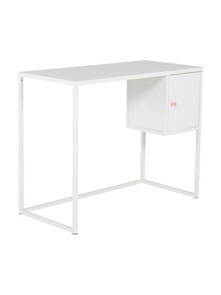 Schmaler Schreibtisch Bakal in Weiß, Stahl, beschichtet, Weiß, B 95 x T 45 cm