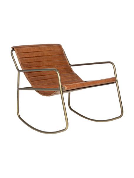 Sedia a dondolo in pelle Karisma, Seduta: pelle, Struttura: metallo verniciato a polv, Marrone, Larg. 59 x Prof. 77 cm