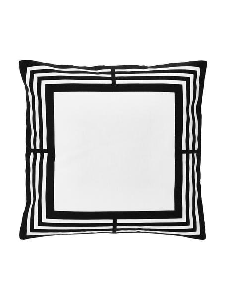 Kussenhoes Zahra in zwart/wit met grafisch patroon, 100% katoen, Wit, zwart, 45 x 45 cm