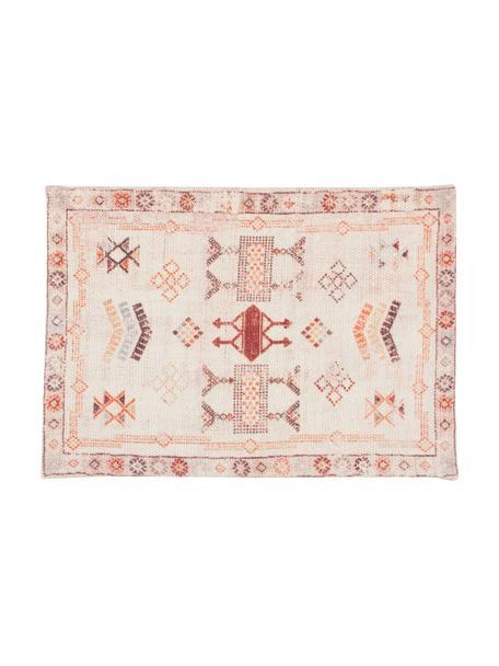 Tovaglietta americana etnica in cotone Tanger, 100% cotone, Beige, tonalità rosse, Larg. 35 x Lung. 50 cm