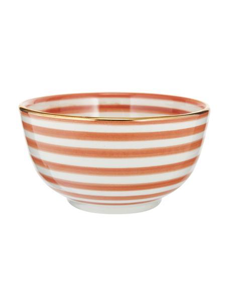 Ciotola fatta a mano stile marocchino con bordo oro Moyen, Ø 15 cm, Ceramica, Arancione, crema, oro, Ø 15 x Alt. 9 cm