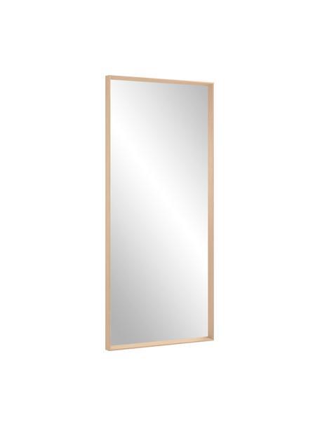 Eckiger Anlehnspiegel Nerina mit beigem Holzrahmen, Rahmen: Holz, Spiegelfläche: Spiegelglas, Beige, 80 x 180 cm