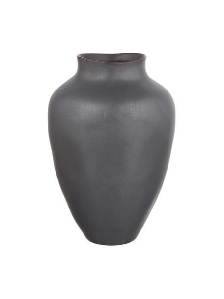 Vaso moderno in ceramica fatto a mano Latona, Ceramica, Nero opaco, Ø 21 x Alt. 30 cm