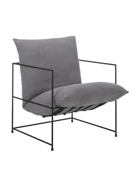 Fotel tapicerowany z metalowym stelażem Wayne, Tapicerka: 80% poliester, 20% len Dz, Szary, S 69 x G 74 cm