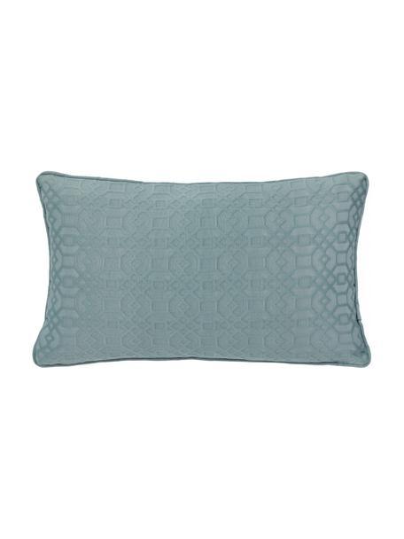 Kussenhoes Feliz in blauw, 60% katoen, 40% polyester, Marineblauw, 30 x 50 cm