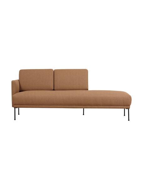 Chaise longue Fluente in nougat met metalen poten, Bekleding: 100% polyester, Frame: massief grenenhout, Poten: gepoedercoat metaal, Geweven stof nougatkleurig, B 202 x D 85 cm