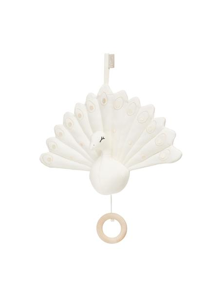 Muziekmobiel Peacock, Bekleding: 100 % organisch katoen, O, Crèmekleurig, 18 x 24 cm