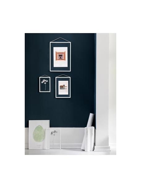 Ramka na zdjęcia Frame, Stelaż: aluminium malowane proszk, Stelaż: biały Zawieszka: czarny Front i tył: transparentny, S 17 x W 23 cm