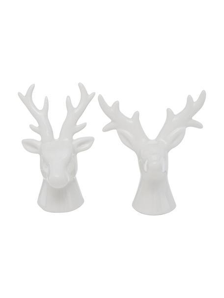 Deko-Hirsche Thore in Weiß H 12 cm, 2 Stück, Porzellan, Weiß, 11 x 12 cm