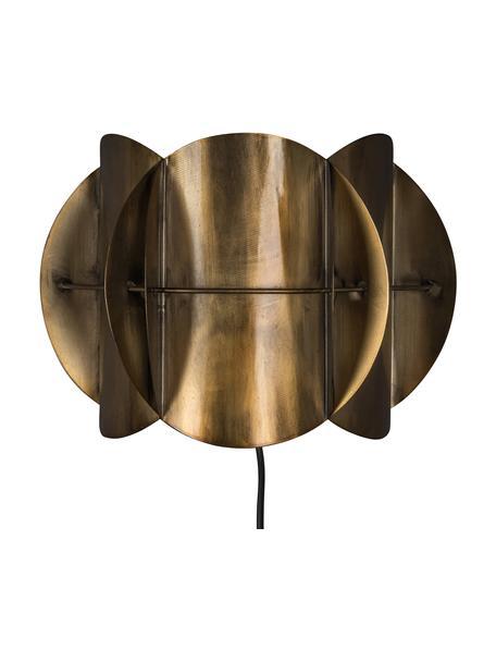 Aplique de diseño Corridor, con enchufe, Pantalla: latón, Cable: cubierto en tela, Latón con efecto envejecido, An 27 x Al 19 cm