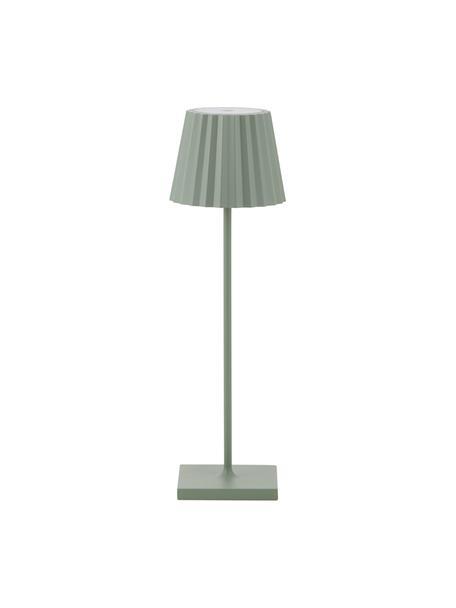 Mobiele dimbare LED tafellamp Trellia, Lampenkap: gelakt aluminium, Diffuser: kunststof, Lampvoet: gelakt aluminium, Groen, Ø 15 x H 38 cm