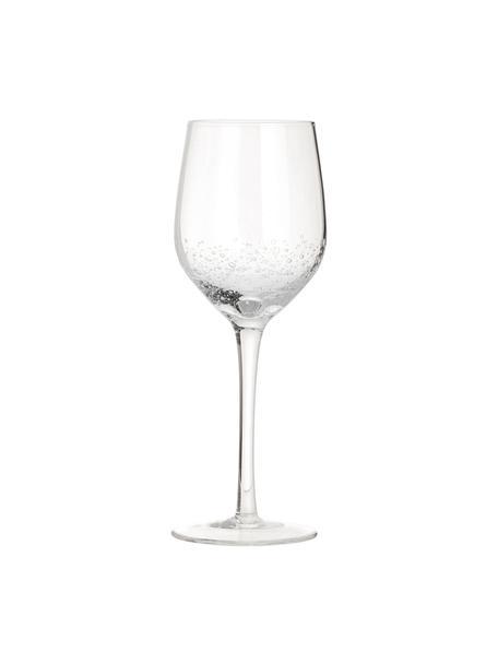 Copas de vino blanco de vidrio soplado artesanalmente con burbujas Bubble, 4uds., Vidrio soplado artesanalmente, Transparente con burbujas de aire, Ø 8 x Al 21 cm